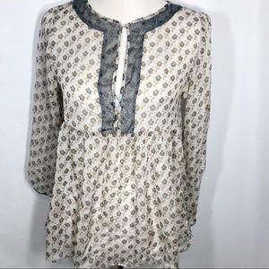 Zara Basic Silky Sheer Babydoll Blouse